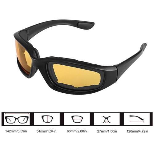 Night Driving Riding Padded Motorcycle Glasses Black Clear Yellow Lens BT