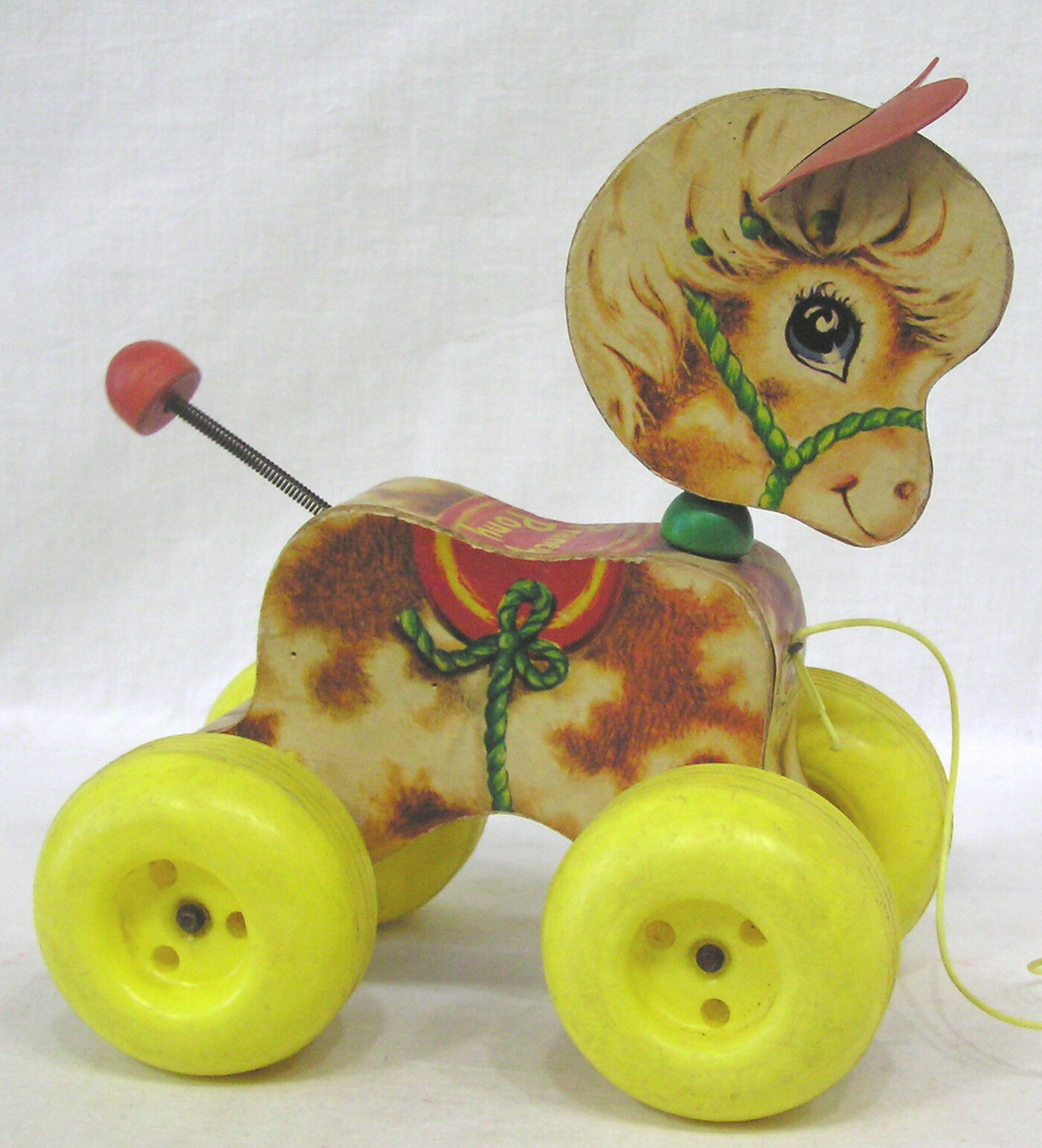 Vintage Fisher Price Pull Toy Prancy Pony 1965 Wood w Plastic Wheels