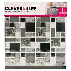 Image Is Loading Self Adhesive Mosaic Tile Stickers Kitchen Bathroom Silver