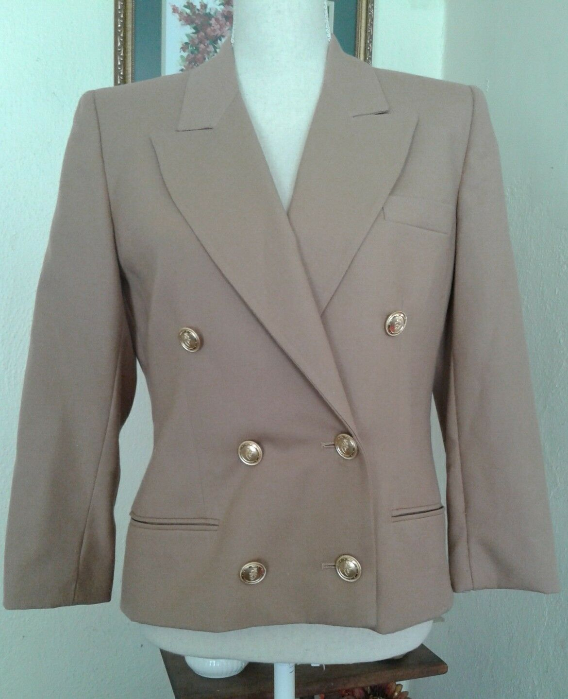 Talbots Petites Womens 6P Blazer Tan Beige 100% Worsted Wool Double Breasted