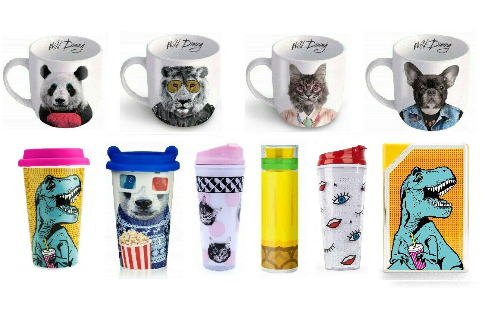 Mustard Larry Lion Wild Dining Ceramic Funky Design Tea Office Mug M12024A