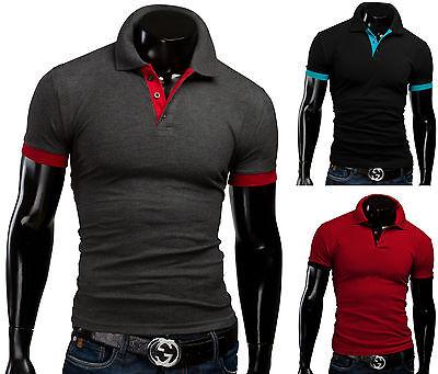MERISH Poloshirt Slim Fit Kurzarm Hemd Polo Figurbetont Trend T-Shirt Herren 23