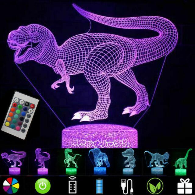 16 Color USB 3D Dinosaur Led Lamp Touch Night Light Table Desk Kids Boys Gift AU