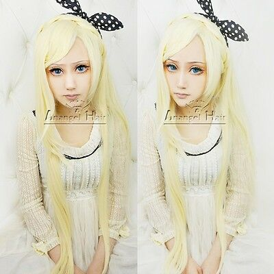 Dangan-ronpa Sonia Nevermind Cosplay wig Long Blonde Synthetic Women's Hair Wigs