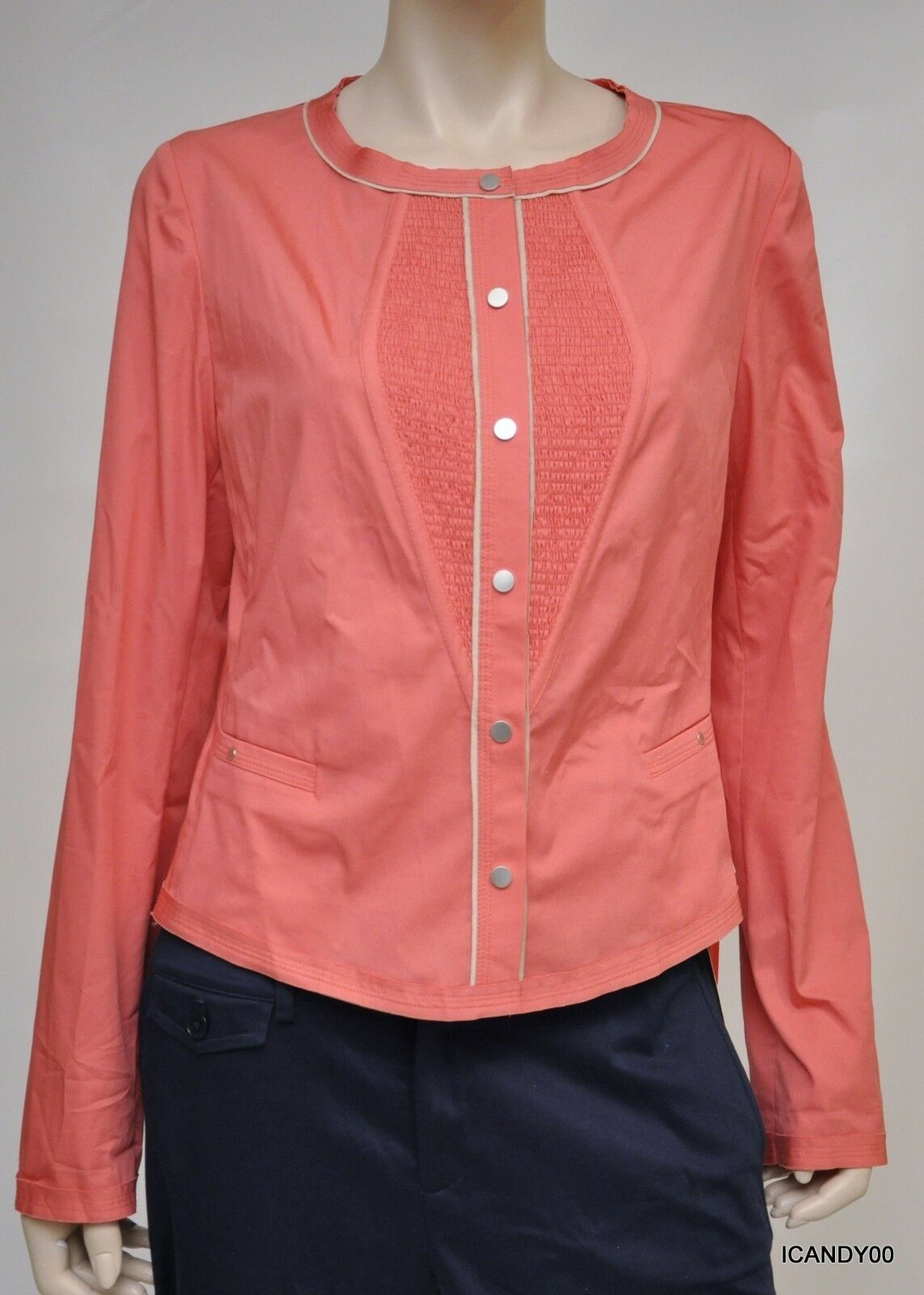 New  Elie Tahari LUCY Stretch-Cotton Shirt Dress Blouse Top Coral 6 42