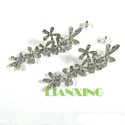 Luxury Fashion Rhinestone Crystal Snowflake Flower Long Dangle Earrings Ear Stud