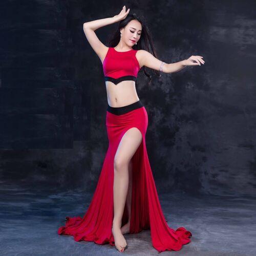 Modal Tank Top+Long Skirt 2pcs set Belly Dance Costumes Performance Dancewear WZ