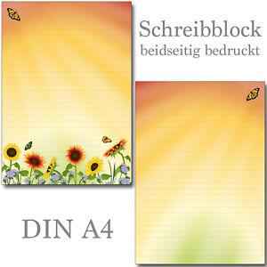 Schreibblock Sonnenblumenfeld liniert A4 25 Blatt Briefpapier Sonnenblume Blumen