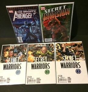 MIGHTY-AVENGERS-13-amp-INVASION-3-1st-App-SECRET-WARRIORS-1-3-Marvel-Comic-Lot
