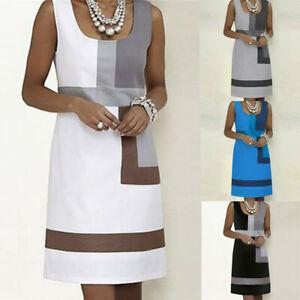 Women-039-s-Casual-Shift-Geometric-Print-Dress-Sleeveless-Summer-Beach-Dress-LIU9