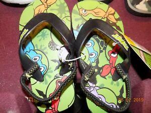 Teenage Mutant Ninja Turtle Boys Black Green Flip Flop Sandals Shoes NEW