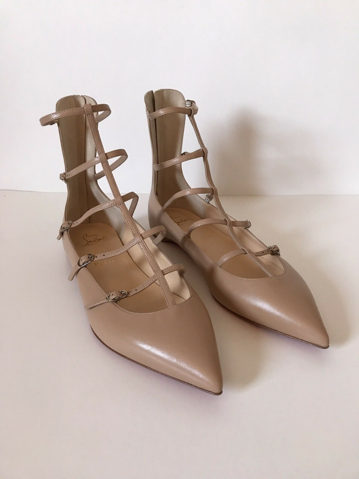 Christian Louboutin Toerless Muse Caged Pointed-Toe Flats Nude Size 39 1/2