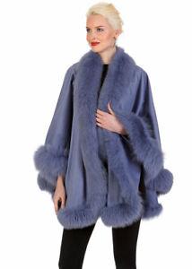 Womens-Fox-Fur-Trimmed-Cashmere-Wrap-Shawl-Lavender-Fox-Trim-My-Lady