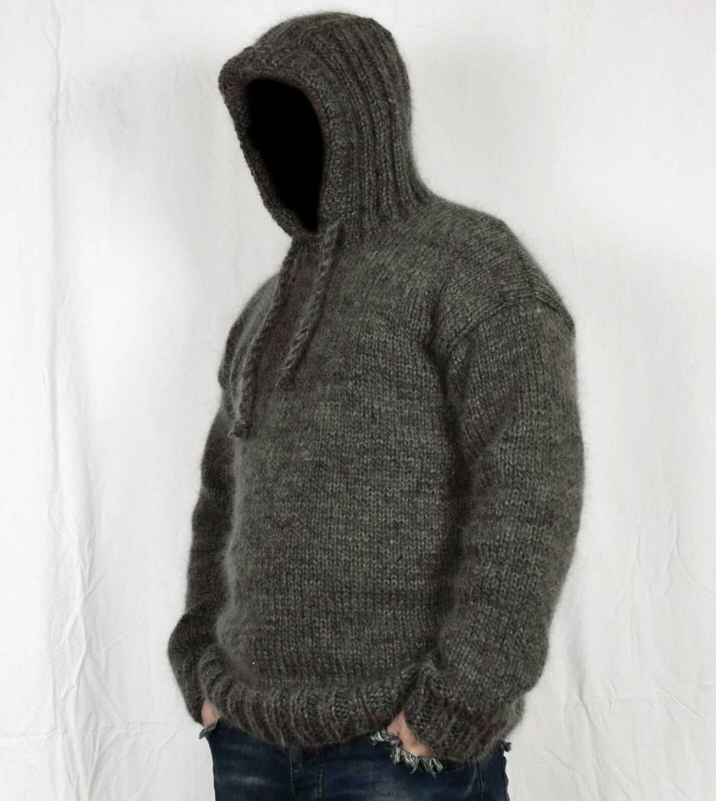 Hand knitted WOOL MOHAIR mens sweater with hoodie  soft hairy Jumper hood