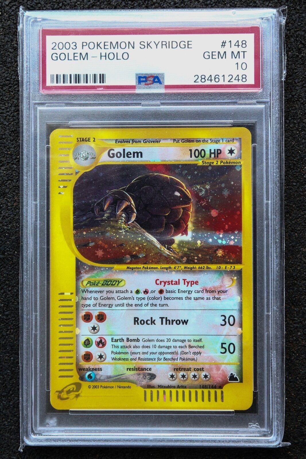 2003 Pokemon Skyridge Holo Golem Golem Golem 148 144 PSA 10 GEM MINT Secret Rare 60a4db