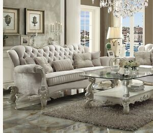Details about 2p Sofa Set Scroll Feet Ivory Upholster Seat Sofa Loveseat  Living Room Furniture