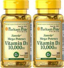 2X Vitamin D3 10.000 IU x 100 ( 200 ) Softgels High Potency Mega Strength