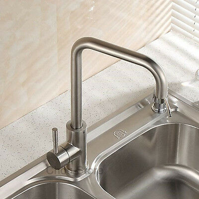 SUS 304 Deck Mount Stainless Steel Kitchen Sink Faucet Swivel Spout Mixer Tap