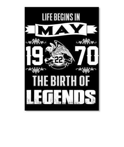 Legend Born In May 22nd Portrait 1970 Sticker