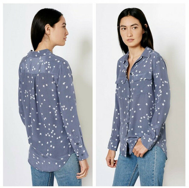 "Authentic Equipment  SLIM Signature""  248 Blau L Star Print Silk Blouse L Blau b5b660"
