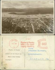 Postcard Santos Hafen (Werbe Rollstempel Fischer und Franke) 1930