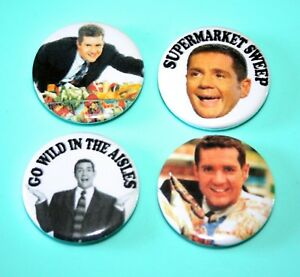 SET-OF-4-DALE-WINTON-SUPERMARKET-SWEEP-BUTTON-PIN-BADGES