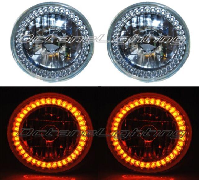 "7"" Halogen Amber LED Ring Halo Angel Eyes Headlight Headlamp Light Bulbs Pair"
