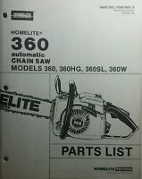 Homelite 360 Chain Saw Parts Manual 12pg Chainsaw 360hg 360sl & 360w