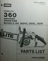 Homelite 360 Chain Saw Parts Manual 12pg Chainsaw 360hg 360sl & 360w
