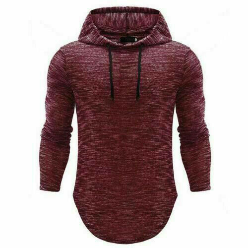 Men/'s Slim Fit Long Sleeve Shirts Hooded Muscle Tops Hoodie Casual Basic T-shirt