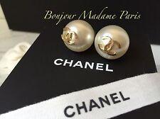 NEW CHANEL Pearl CLASSIC Crystal CC Logo Dangle Earrings NIB Stud Earring