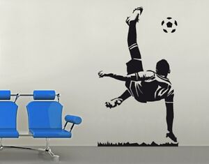 wandtattoo fu ball fallr ckzieher kinderzimmer fussballspieler tor schuss wal219 ebay. Black Bedroom Furniture Sets. Home Design Ideas