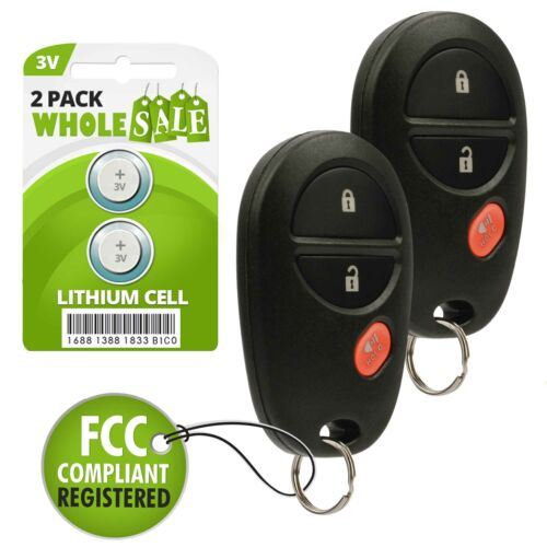 2 2007-2013 For Toyota Highlander Keyless Remote Fob Transmitter GQ43VT20T