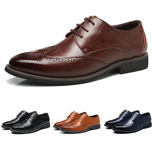 Mens-Oxfords-Brogue-Leather-Formal-Casual-Dress-Lace-up-Wing-Tip-Wedding-Shoes