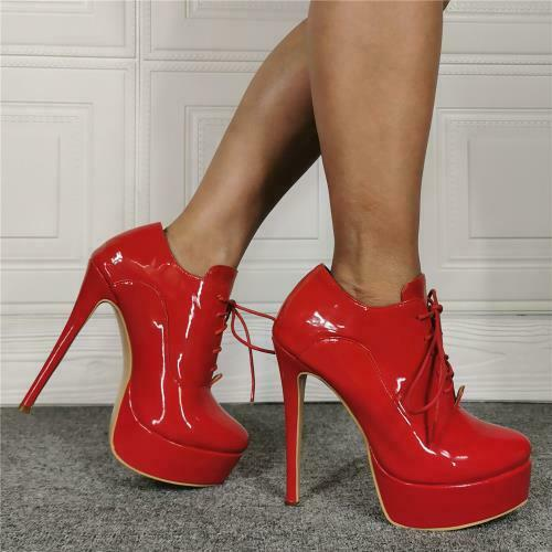 Details about  /Runway Women Lace Up Platform Shoes Stiletto High Heel Round Toe Ankle Boots L
