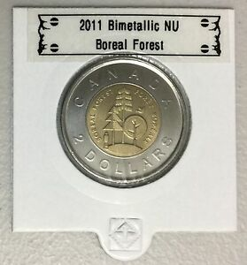 CANADA-2011-New-2-dollar-TOONIES-Boreal-Forest-BU-directly-from-mint-roll