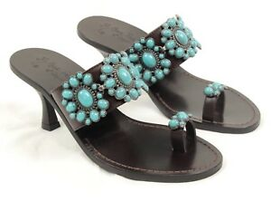2ab6d1b384784b Image is loading Miss-Trish-of-Capri-Concha-Kitten-Heel-Turquoise-