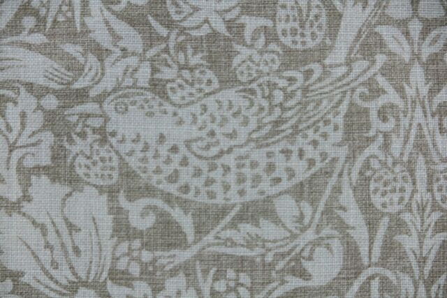 William Morris Curtain Fabric Design Pure Strawberry Thief 3 Metres Pale Grey