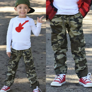 57c2c9993d947 Details about Camo Kids Children Boys Casual Trousers Toddler Boy Army  Military Pants Bottoms