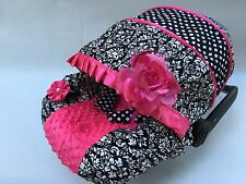 baby car seat cover canopy cover set fit most seat black white damask/dots print
