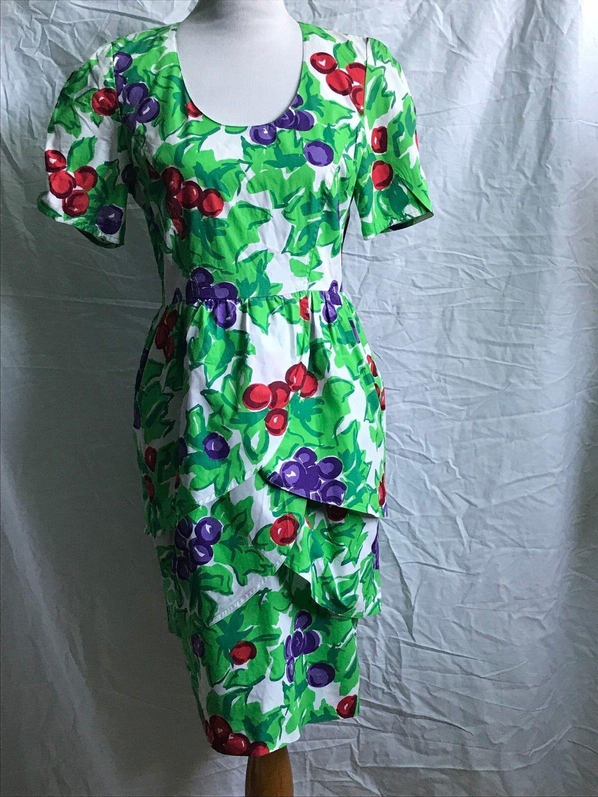 VINTAGE Guy Laroche Boutique PARIS Tulip Skirt Tiered Dress Berry Print 8 10
