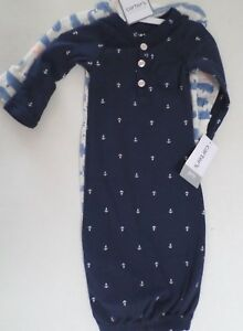 149f874a7 Carter's Baby Boy Gowns Set/2 Anchors & Whales Navy/Gray/Blue Cotton ...