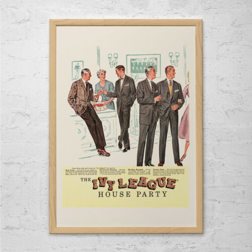 Mid-Century Poster Mad Men Party Post IVY LEAGUE FASHION Ad Retro Mad Men Ad