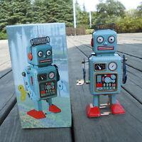 Kids Toy Gift Retro Vintage Mechanical Clockwork Wind Up Metal Walking Robot Tin