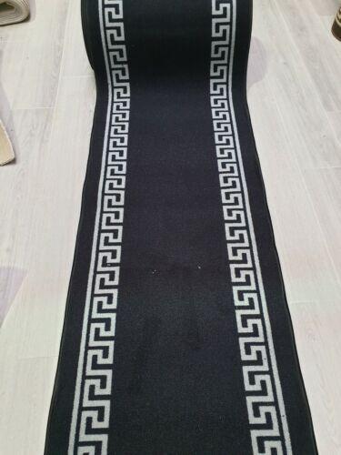 Wide.Rug//NonSlip//Mashine New Black and Grey Greek Key runner 67cm 2ft 2inches
