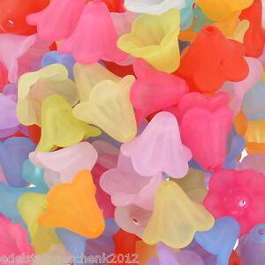 200-Mix-Matt-Blumen-Acryl-Spacer-Perlen-Beads-Zwischenteile-14x10mm