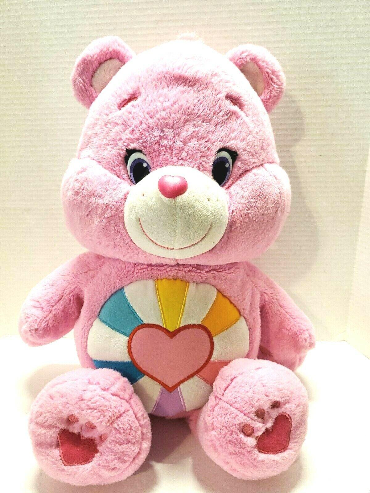 Message Recorder Stuffed Animals, Hopeful Heart Care Bear Pink Heart Rainbow Plush Stuffed Animal 20 For Sale Online
