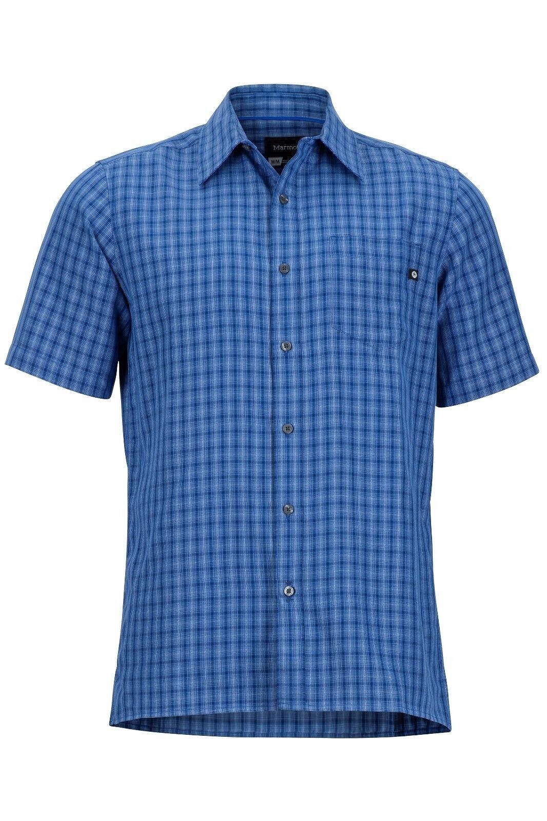Marmot Eldridge Shirt Short Sleeve, Function Shirt for Men, Varsity bluee