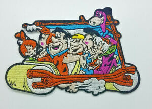 Flintstone-Family-in-Car-Patch-4-1-2-inches-wide