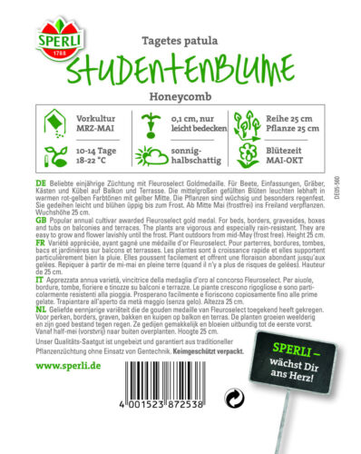 Tagetes patula ca regenfest 80 Samen 87253 Studentenblume /'Honeycomb/'